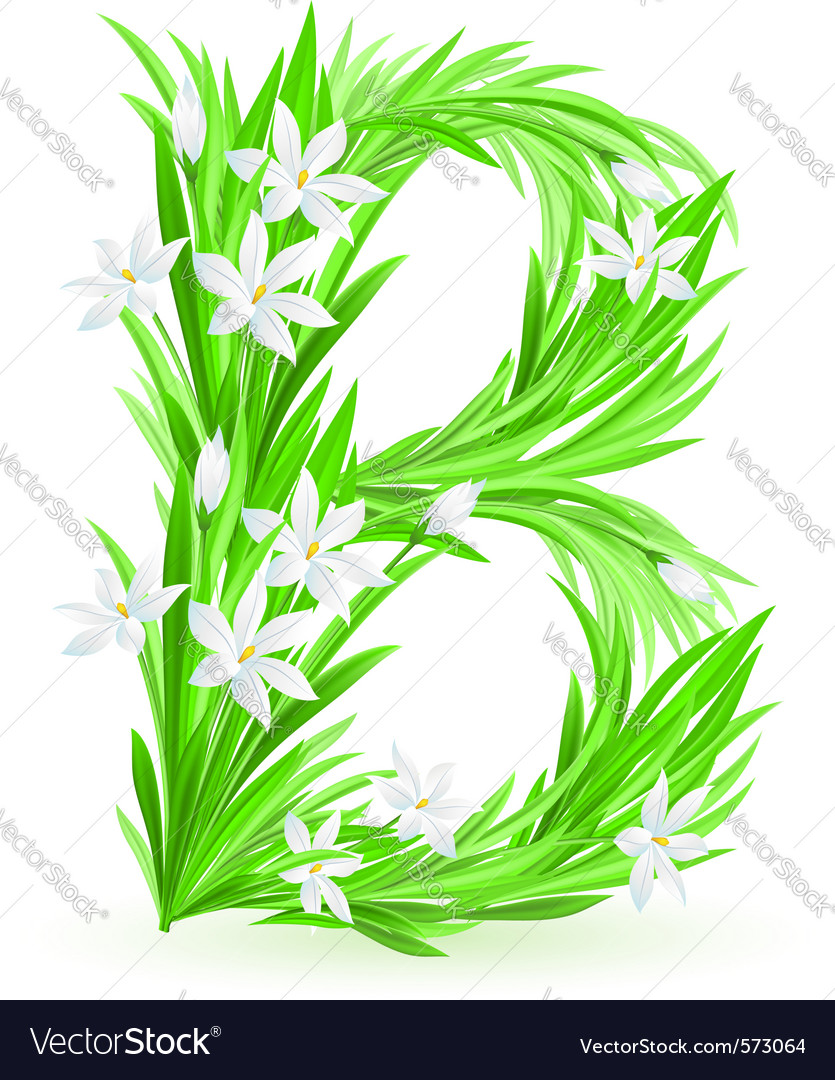 Spring flowers alphabet b vector | Price: 1 Credit (USD $1)