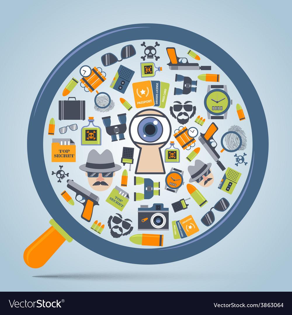 Spy concept loupe icon vector | Price: 1 Credit (USD $1)