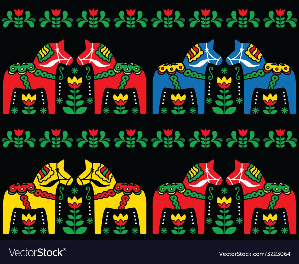 Swedish dala horse folk seamless pattern on black vector | Price: 1 Credit (USD $1)