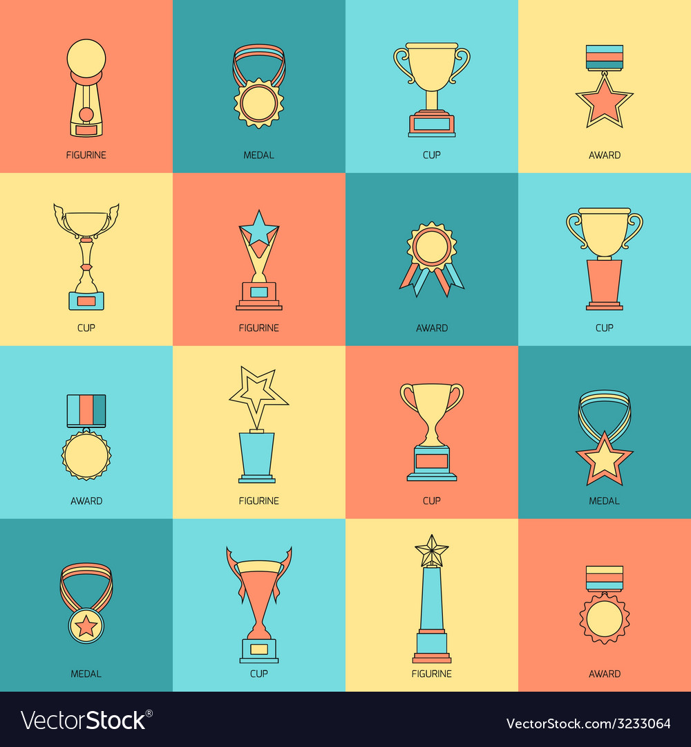 Trophy icons set flat line vector | Price: 1 Credit (USD $1)