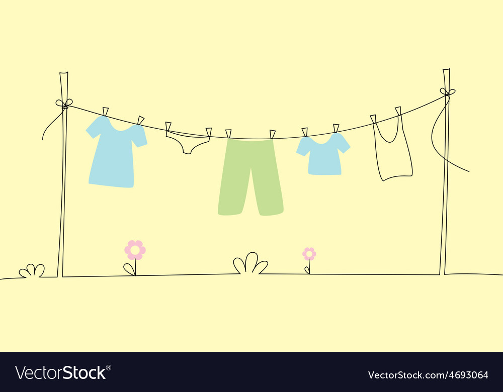 Underwear drying on the line vector | Price: 1 Credit (USD $1)