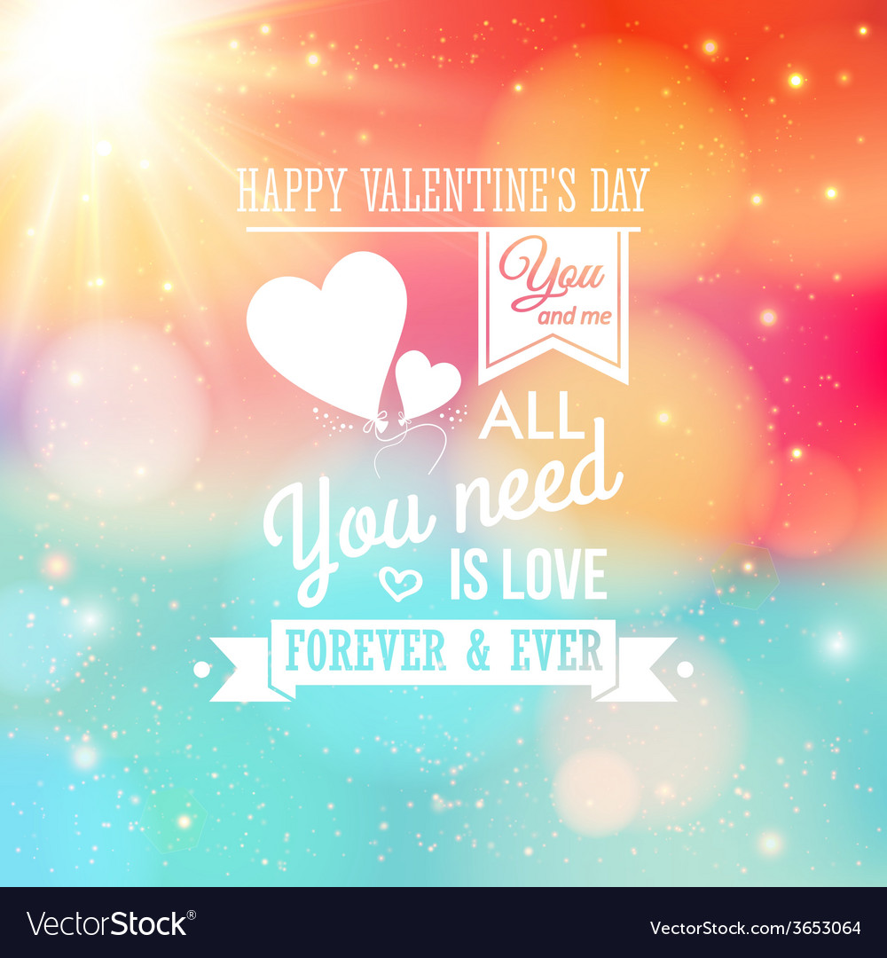 Valentine card typography style soft bokeh vector | Price: 1 Credit (USD $1)