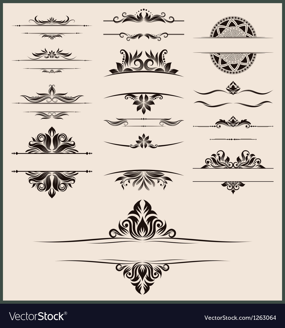 Vintage-element-and-border-set vector | Price: 1 Credit (USD $1)