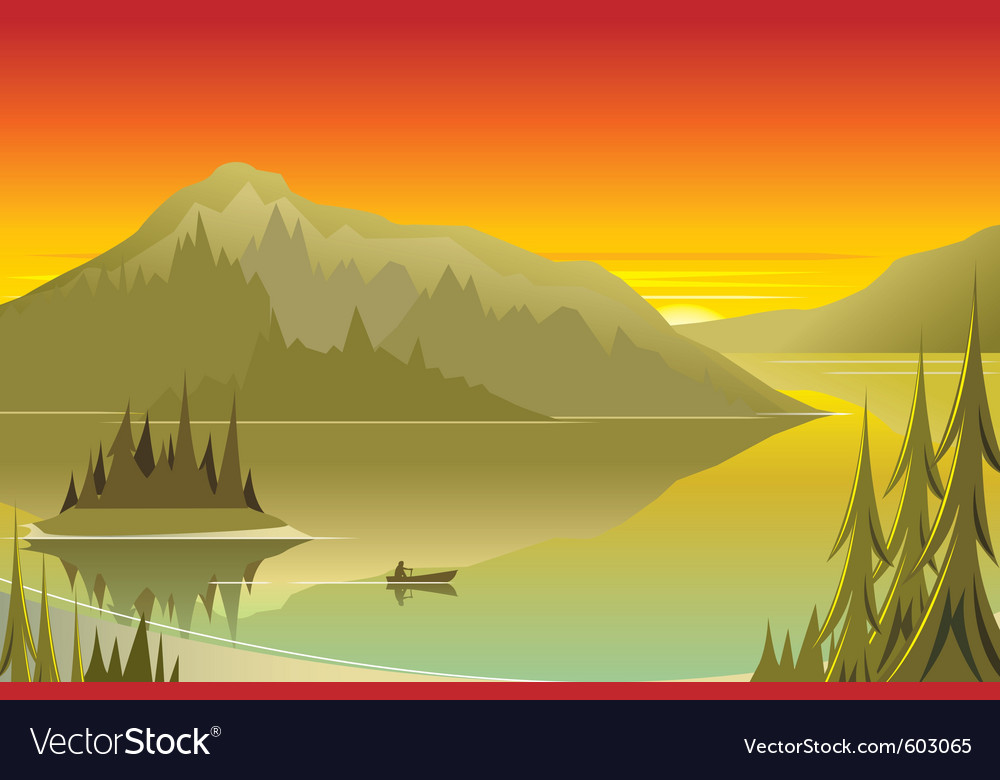 Canoe at sunrise vector | Price: 1 Credit (USD $1)