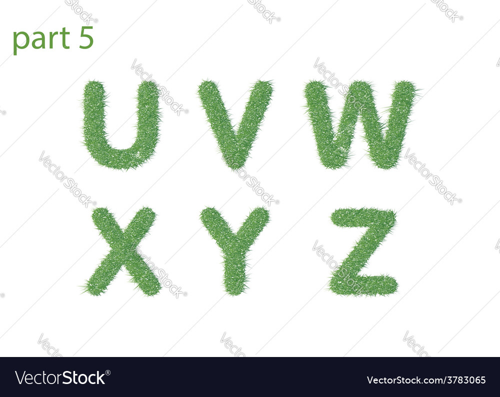 Caps letter text of green grass part five vector | Price: 1 Credit (USD $1)
