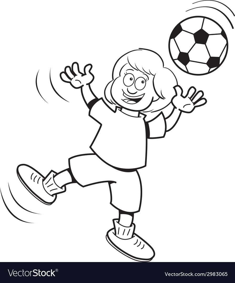 Cartoon girl playing soccer vector | Price: 1 Credit (USD $1)
