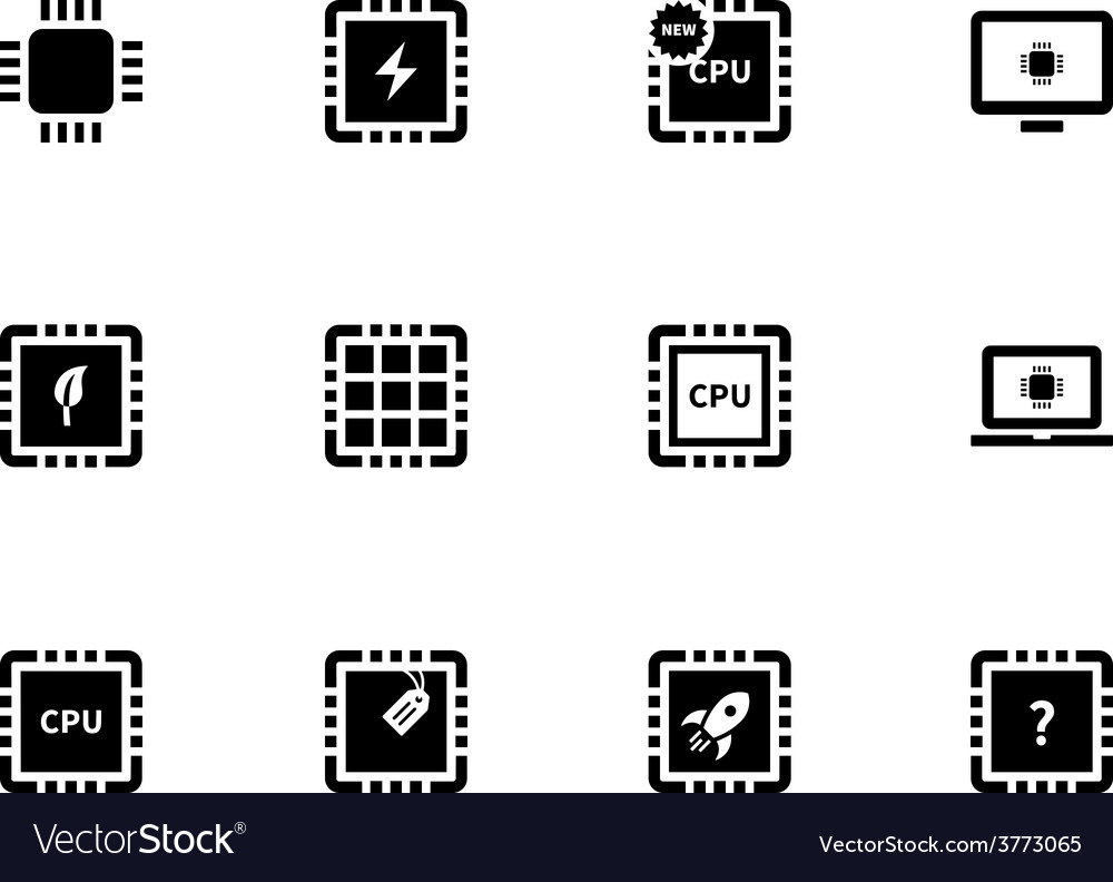 Cpu and microprocessor icons on white background vector | Price: 1 Credit (USD $1)