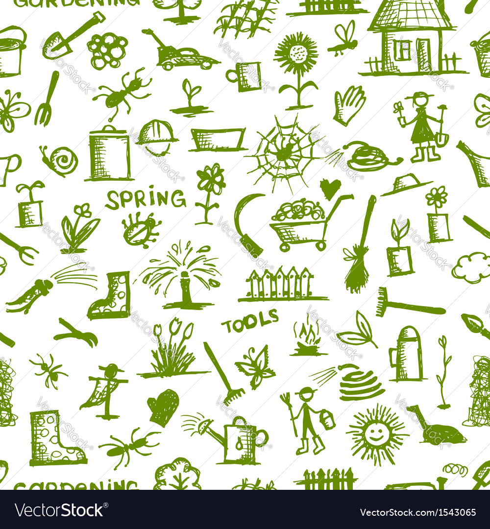 Garden tools sketch seamless pattern for your vector | Price: 1 Credit (USD $1)