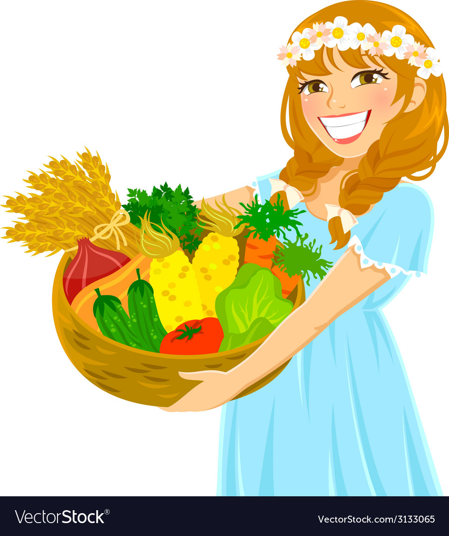 Girl with vegetables vector | Price: 1 Credit (USD $1)