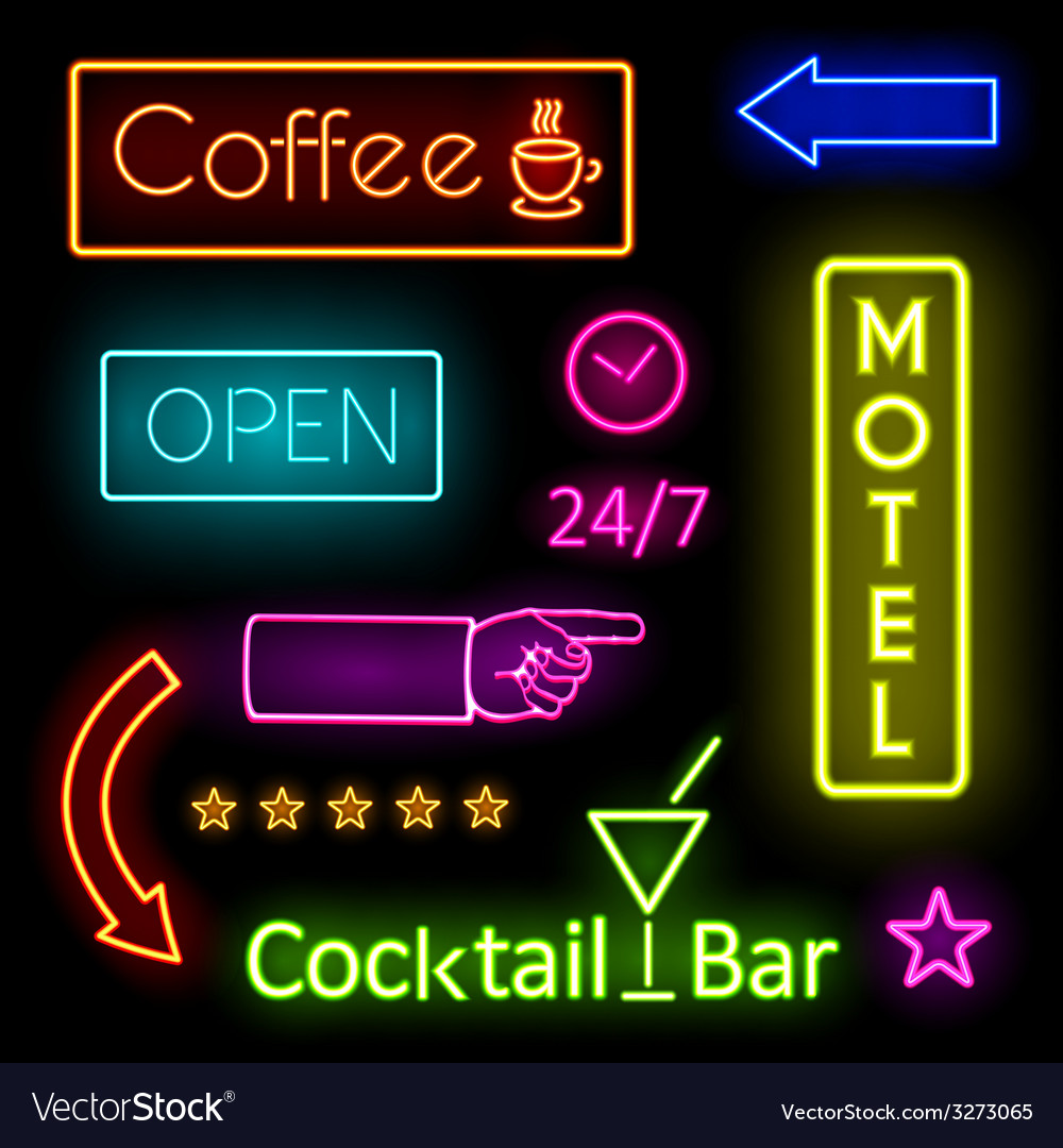 Glowing neon lights for cafe and motel signs vector | Price: 1 Credit (USD $1)