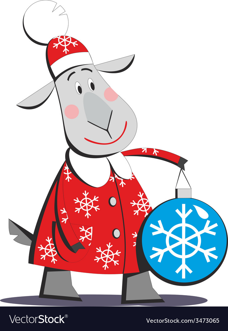 Goat in santa claus costume 01 vector | Price: 1 Credit (USD $1)