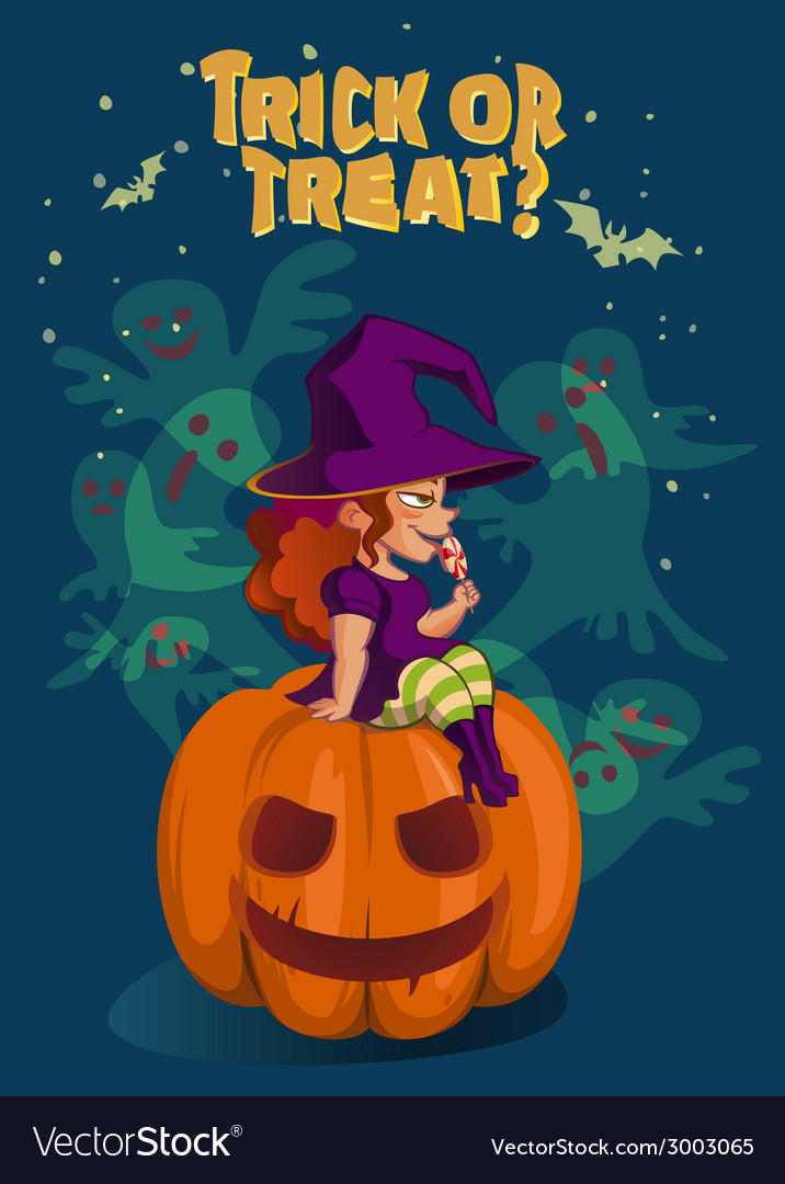 Halloween with witch on pumpkin lantern vector | Price: 3 Credit (USD $3)
