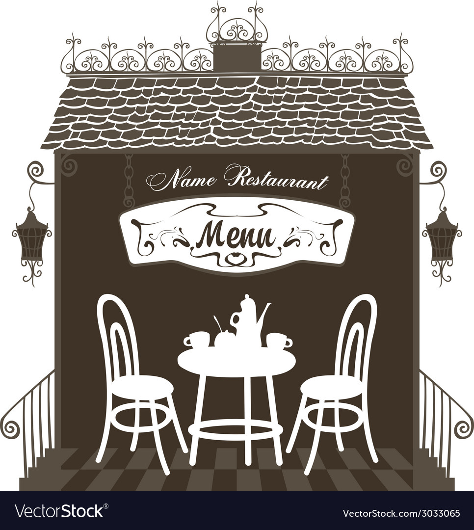 Restaurant in the old town vector | Price: 1 Credit (USD $1)
