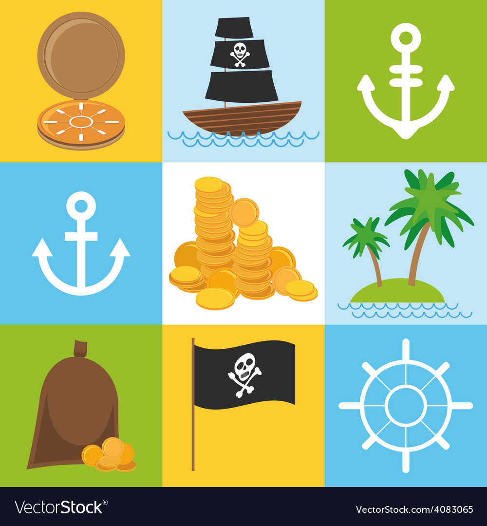 Scrap nautical card with sea objects collection vector | Price: 1 Credit (USD $1)