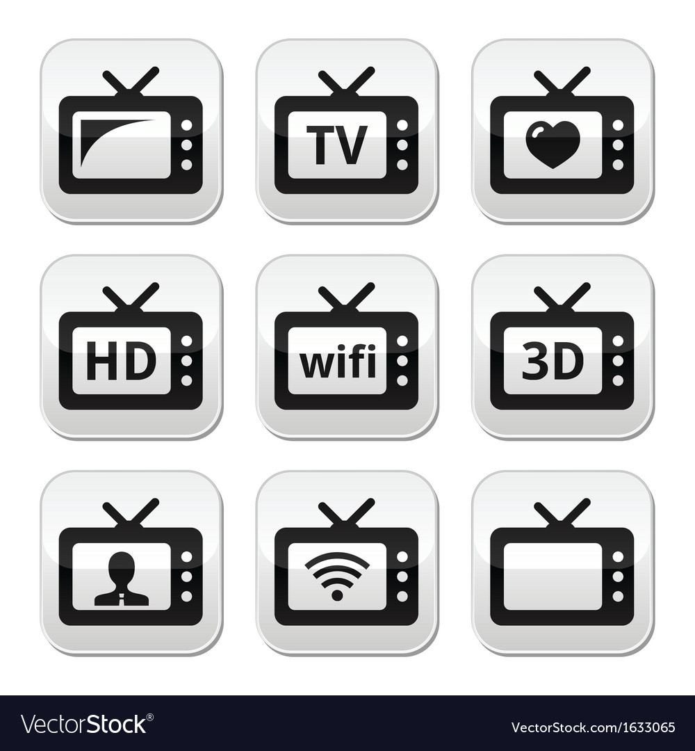 Tv set 3d hd buttons vector | Price: 1 Credit (USD $1)