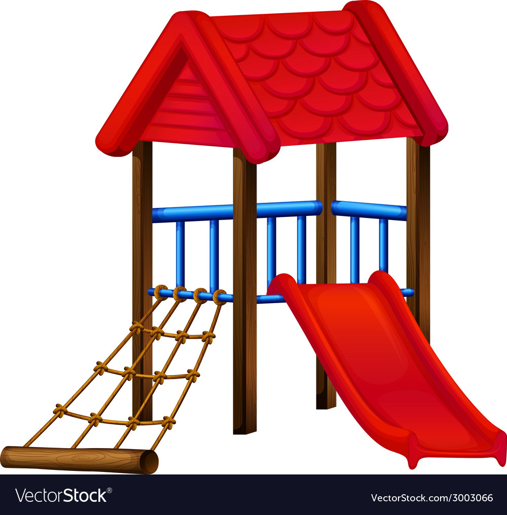 A toy house at the park with a slide vector | Price: 1 Credit (USD $1)
