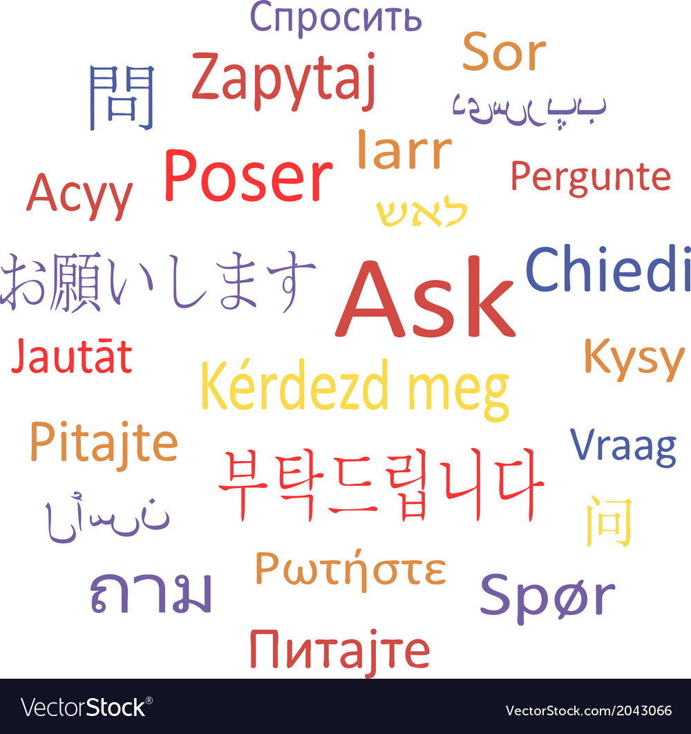 Ask in different languages vector | Price: 1 Credit (USD $1)