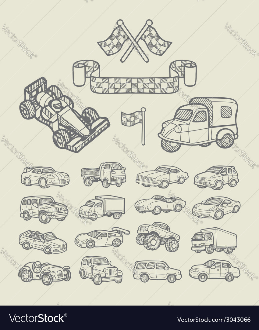 Car icons sketch vector | Price: 3 Credit (USD $3)