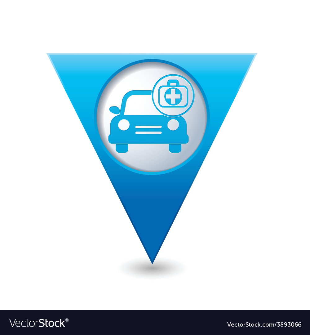 Cars first aid kit blue triangular map pointer vector | Price: 1 Credit (USD $1)