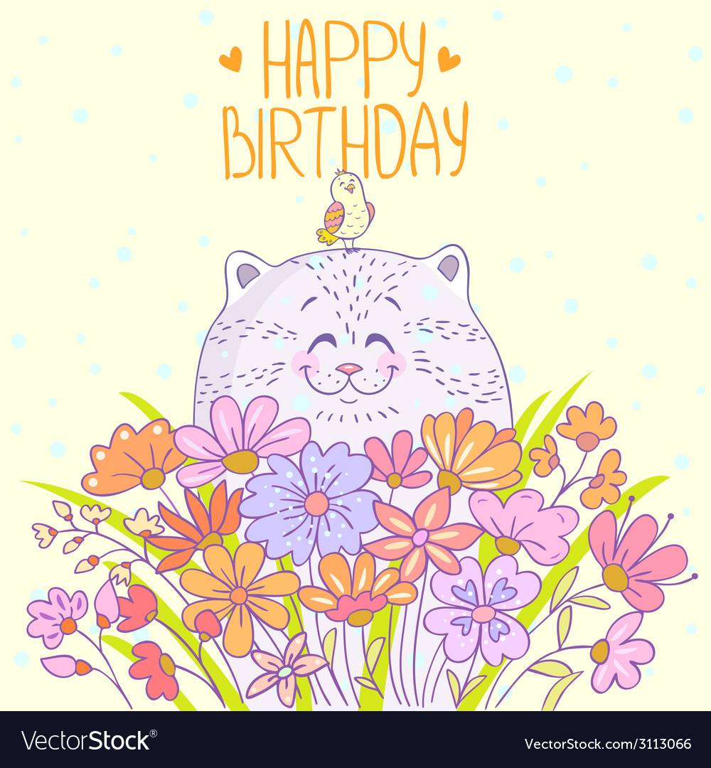 Cat happy birthday vector | Price: 1 Credit (USD $1)