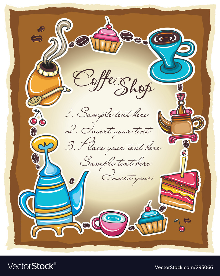 Cute coffee frame 3 vector | Price: 3 Credit (USD $3)