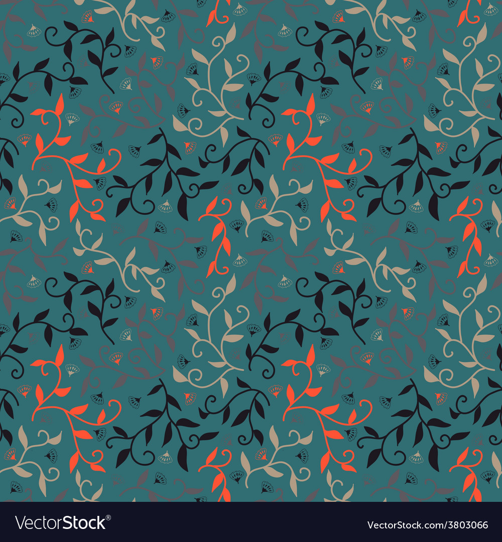Decorative seamless pattern with leaves and small vector