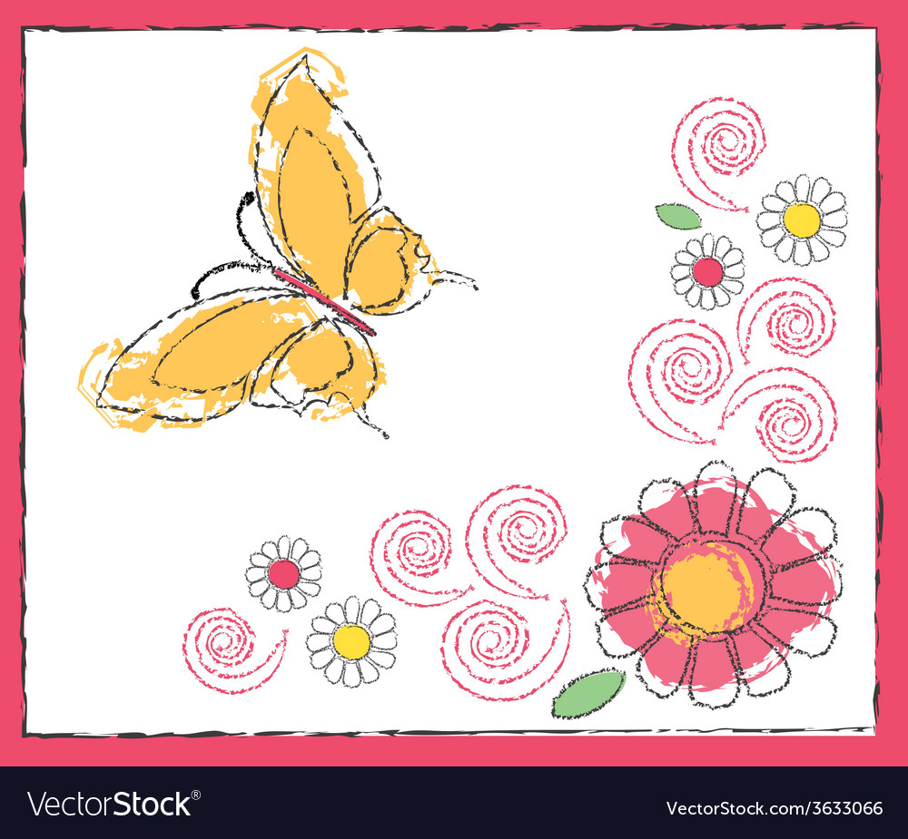Drawing of butterfly and flowers vector   Price: 1 Credit (USD $1)