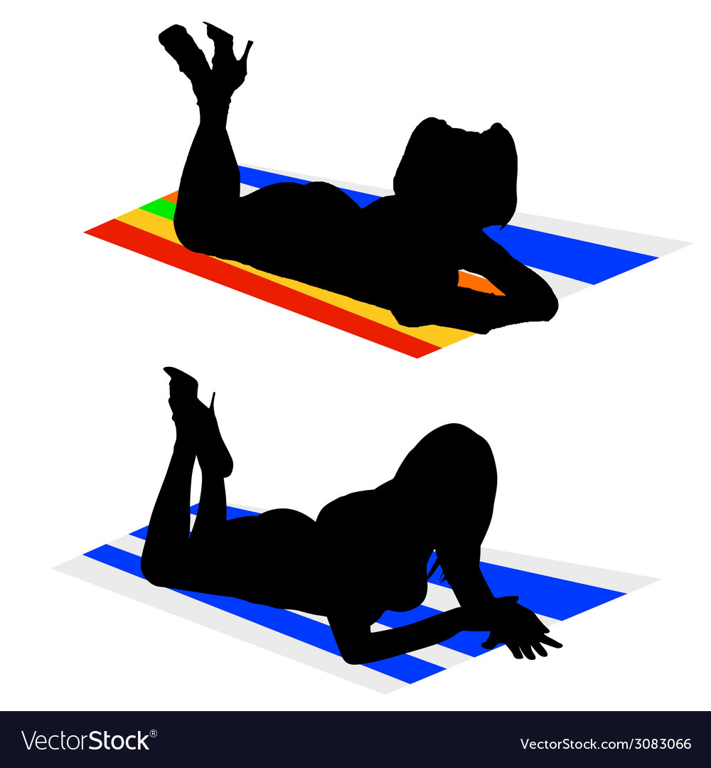 Girls on a towel color vector   Price: 1 Credit (USD $1)