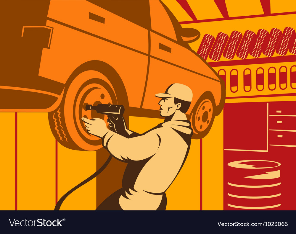 Mechanic automotive repairman retro vector | Price: 1 Credit (USD $1)