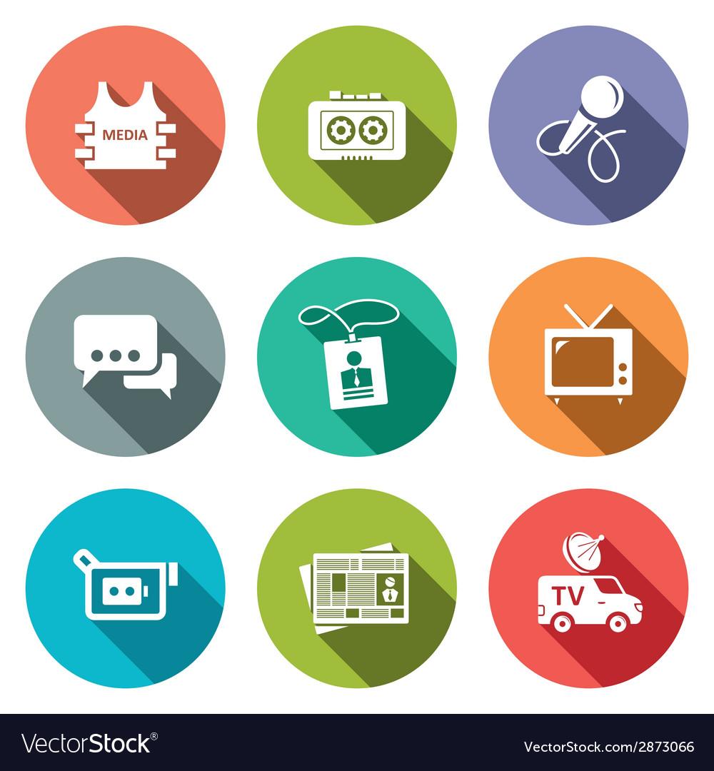 Media flat icon set vector   Price: 1 Credit (USD $1)