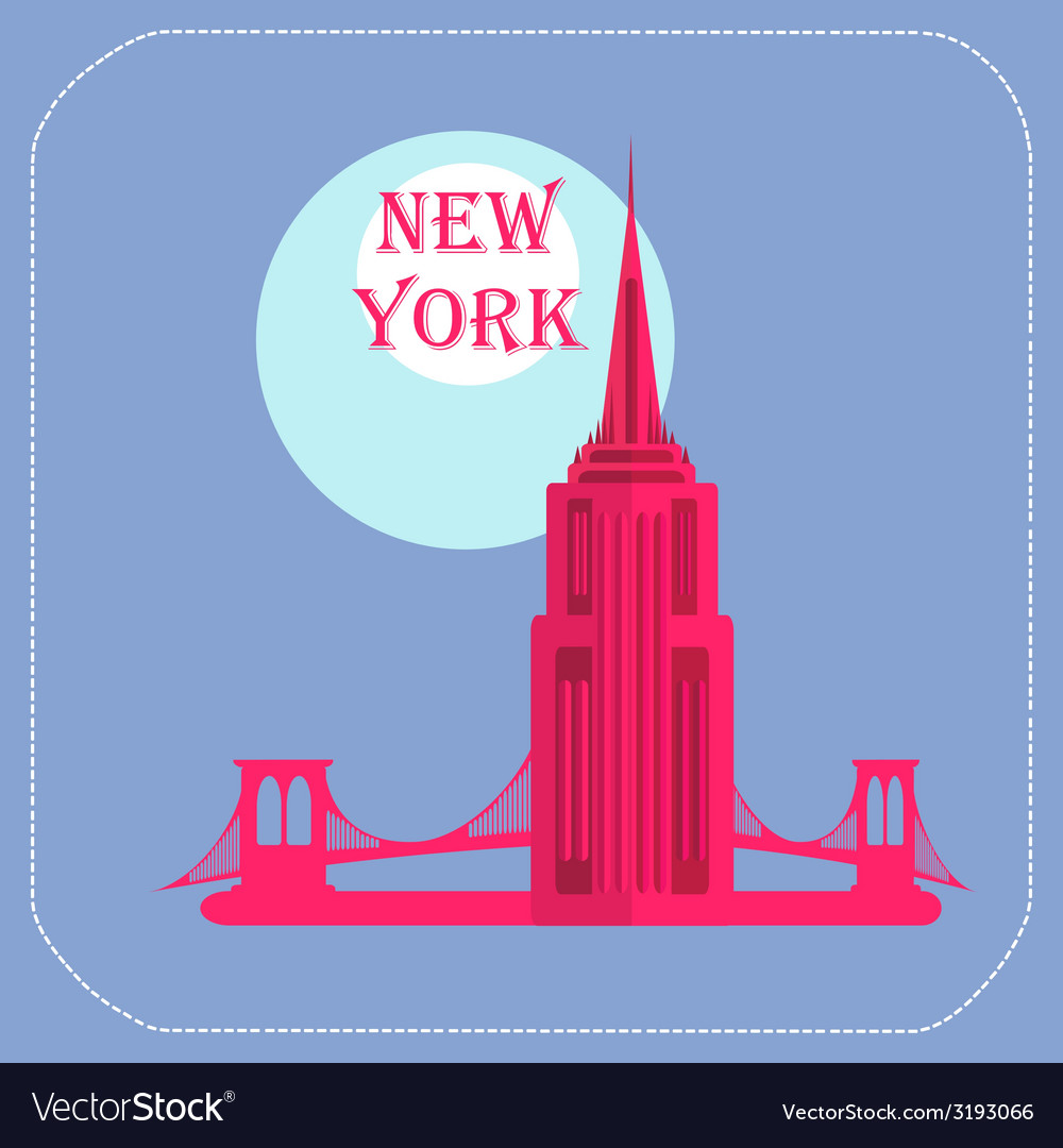 New york empire state building icon flat vector | Price: 1 Credit (USD $1)
