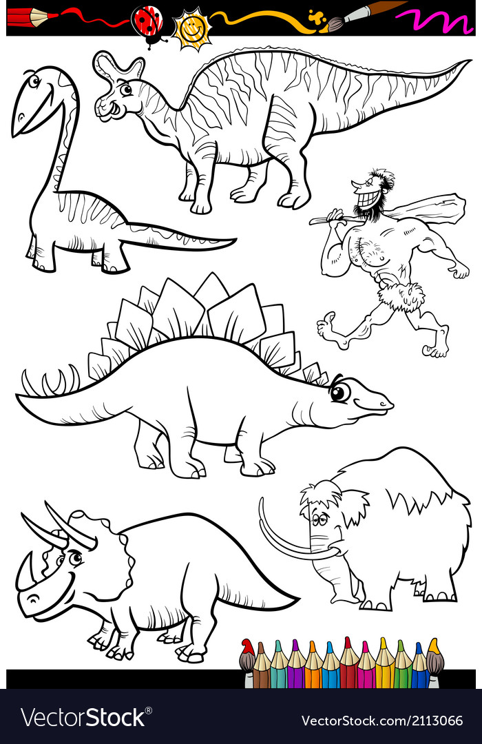 Prehistoric set for coloring book vector | Price: 1 Credit (USD $1)