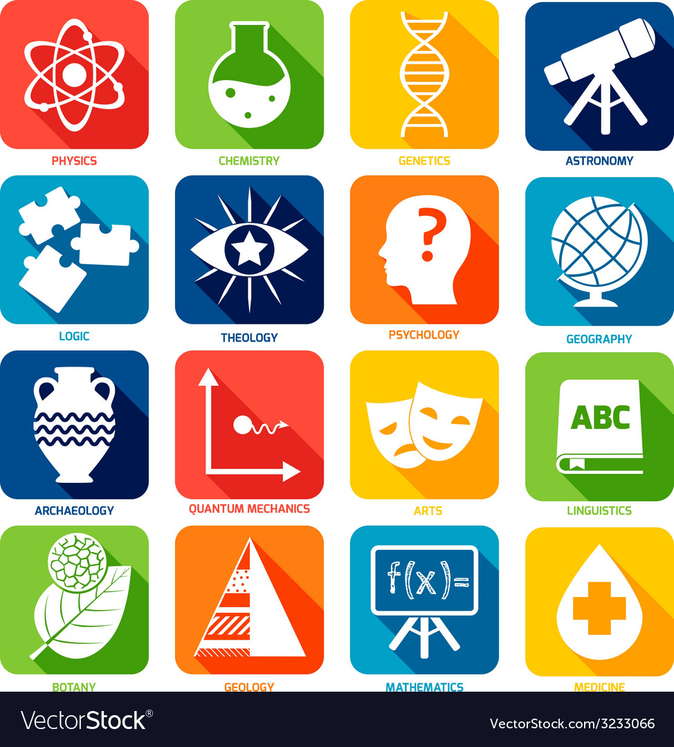 Science areas icons vector | Price: 1 Credit (USD $1)