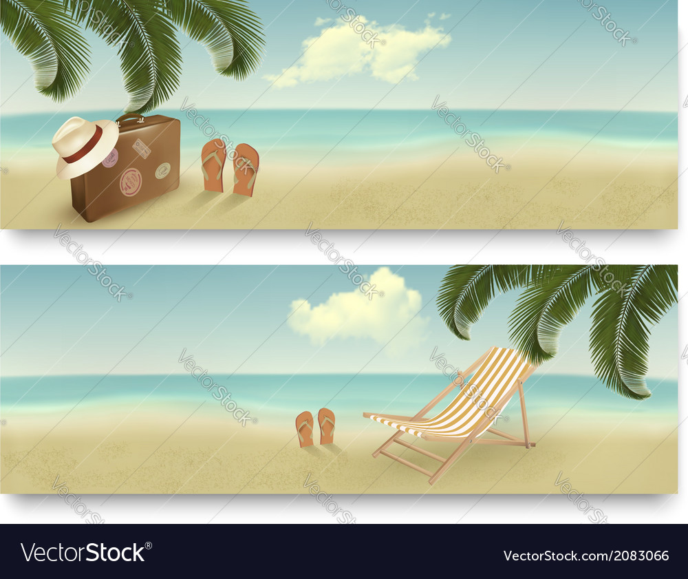 Two retro summer vacation banners vector