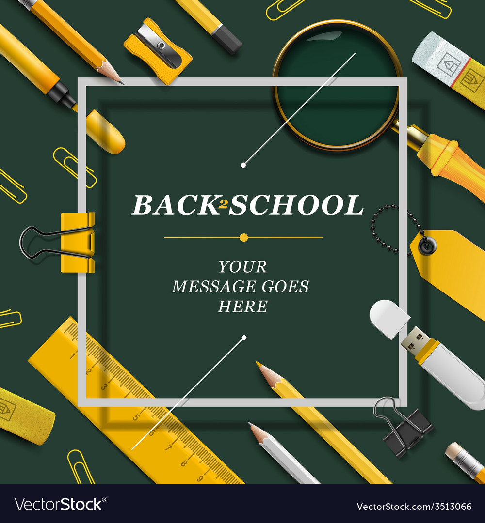 Welcome back to school template with schools vector | Price: 1 Credit (USD $1)