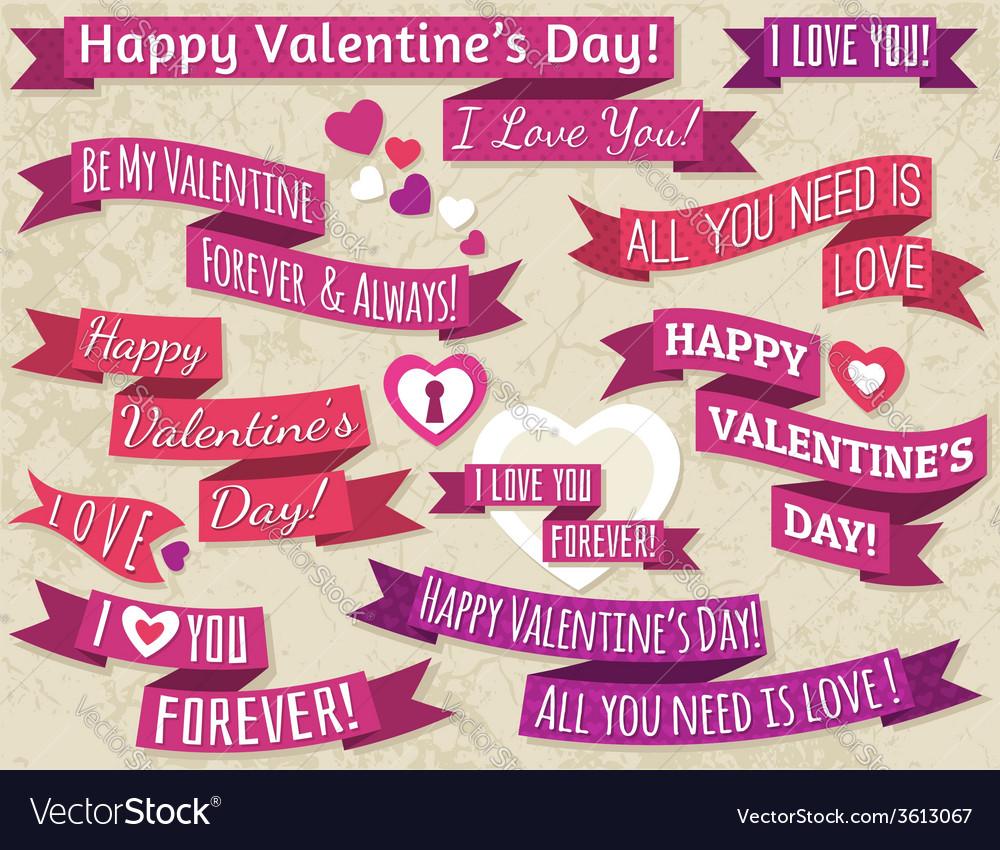 A set of ribbon valentines design vector | Price: 1 Credit (USD $1)