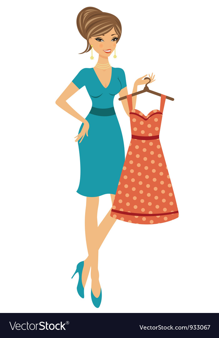 Beautiful woman shopping for dress vector | Price: 3 Credit (USD $3)