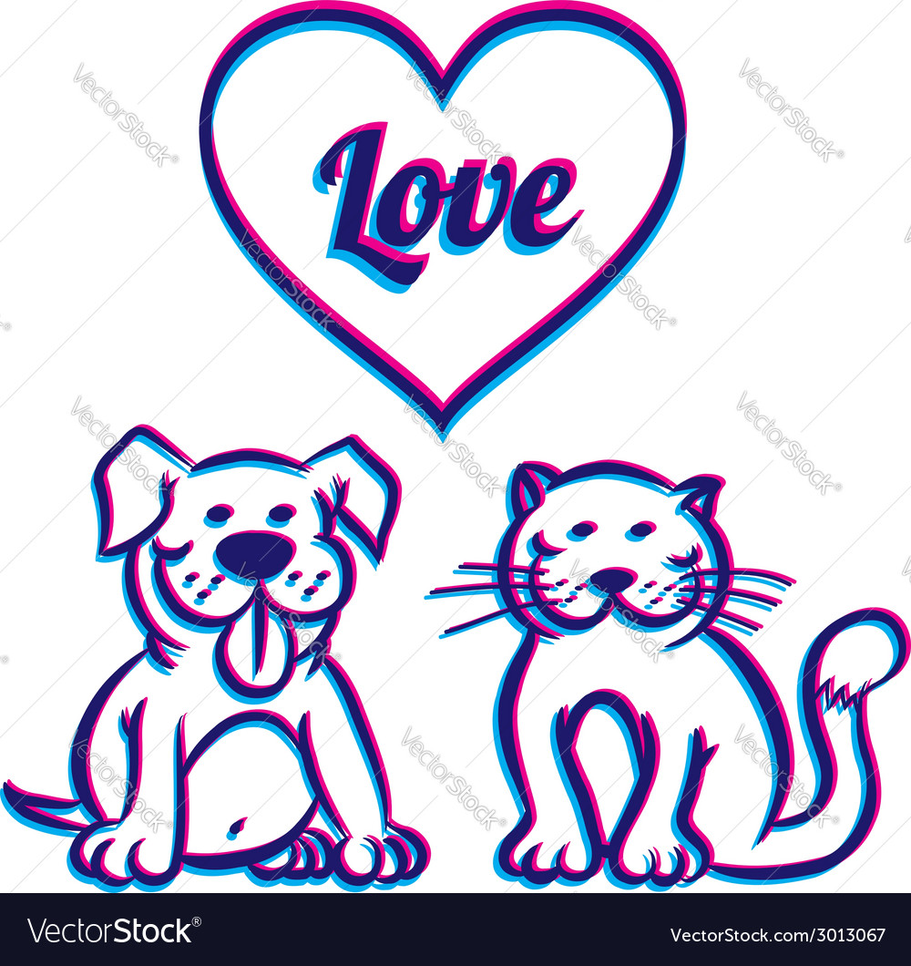 Cat and dog 3d vector | Price: 1 Credit (USD $1)