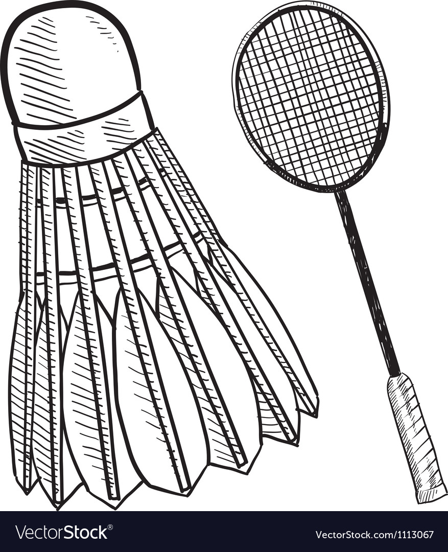 Doodle badminton racket shuttlecock vector | Price: 1 Credit (USD $1)