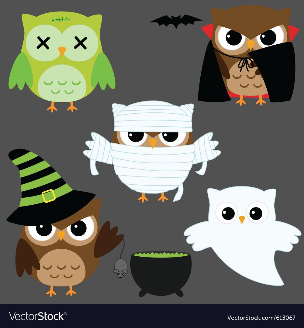Halloween owls vector | Price: 1 Credit (USD $1)