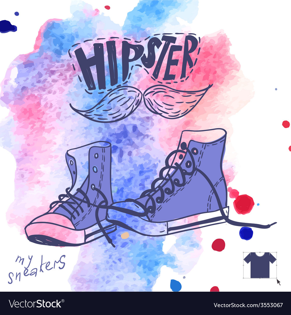 Hand drawn pair of sneakers vector   Price: 1 Credit (USD $1)