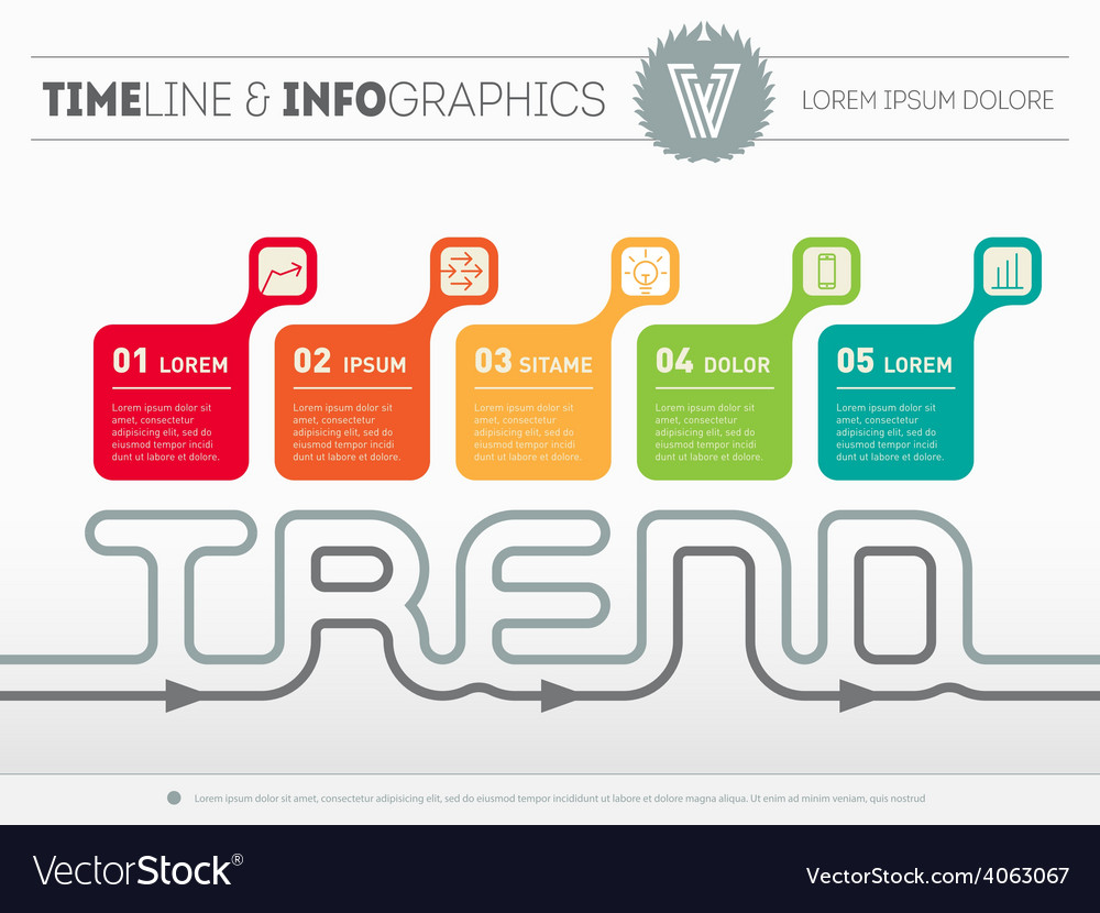 Infographic timeline with five parts time line of vector | Price: 1 Credit (USD $1)