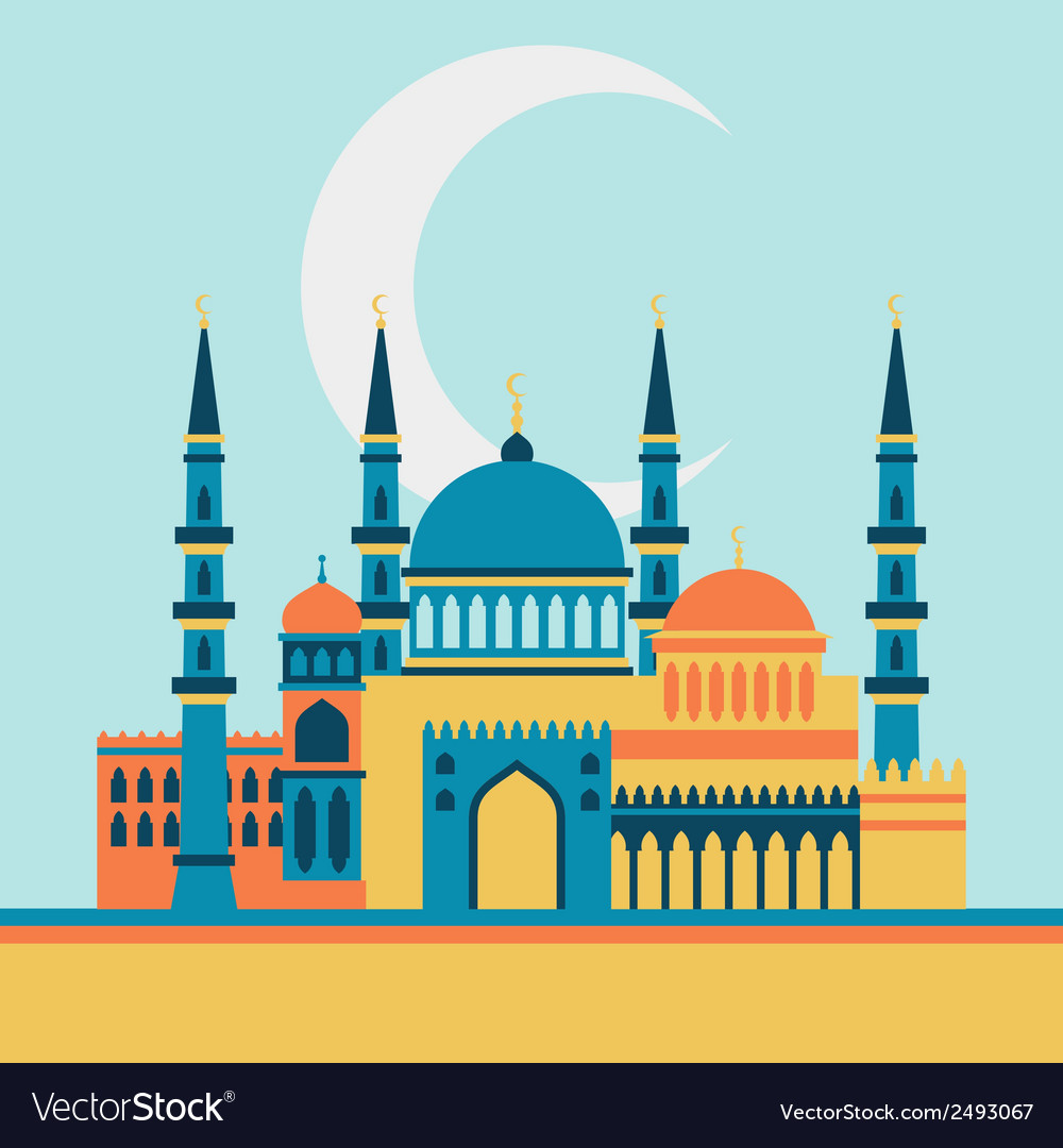 Islamic greeting card with mosque in flat design vector | Price: 1 Credit (USD $1)