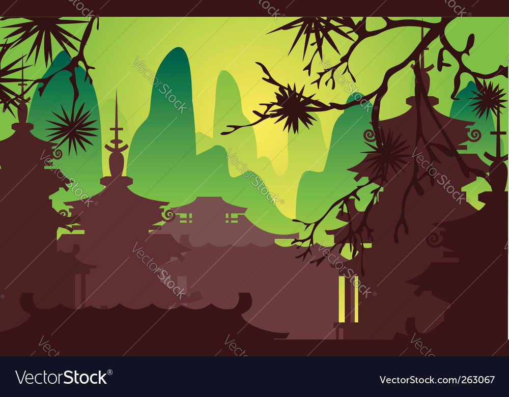 Japanese vista vector | Price: 1 Credit (USD $1)