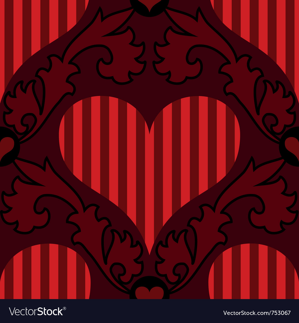 Red striped heart seamless background vector | Price: 1 Credit (USD $1)