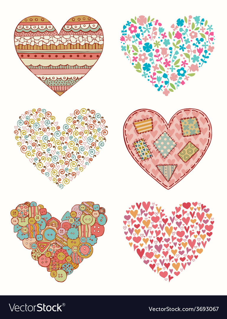 Set of doodle hearts for design vector   Price: 1 Credit (USD $1)
