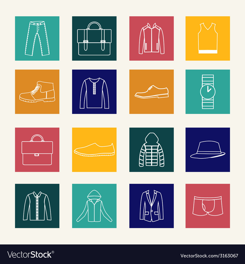 Set of flat man clothing icons vector | Price: 1 Credit (USD $1)