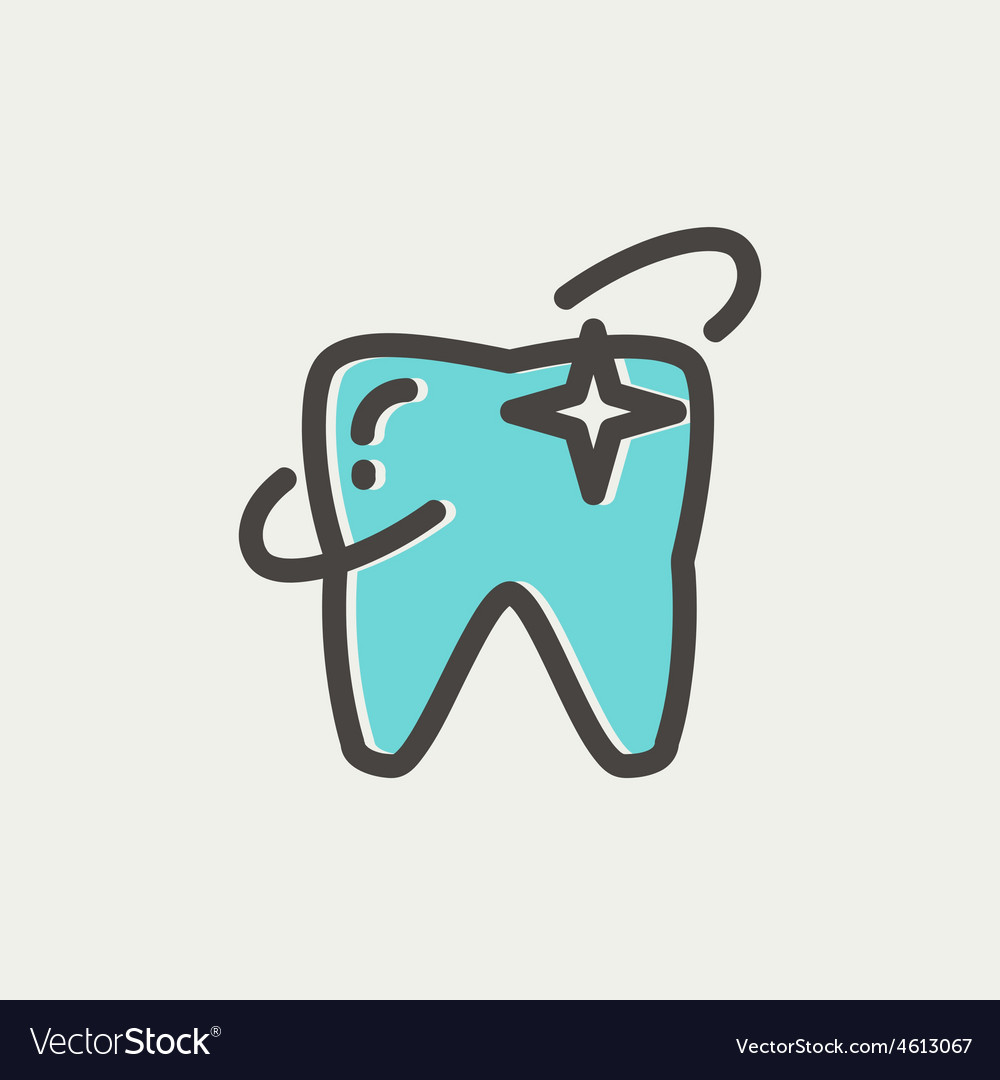 Shining tooth thin line icon vector | Price: 1 Credit (USD $1)