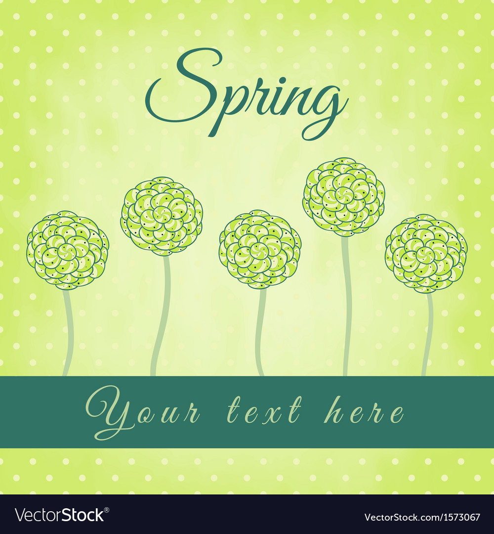 Tree with green spiral leaves spring theme vector | Price: 1 Credit (USD $1)