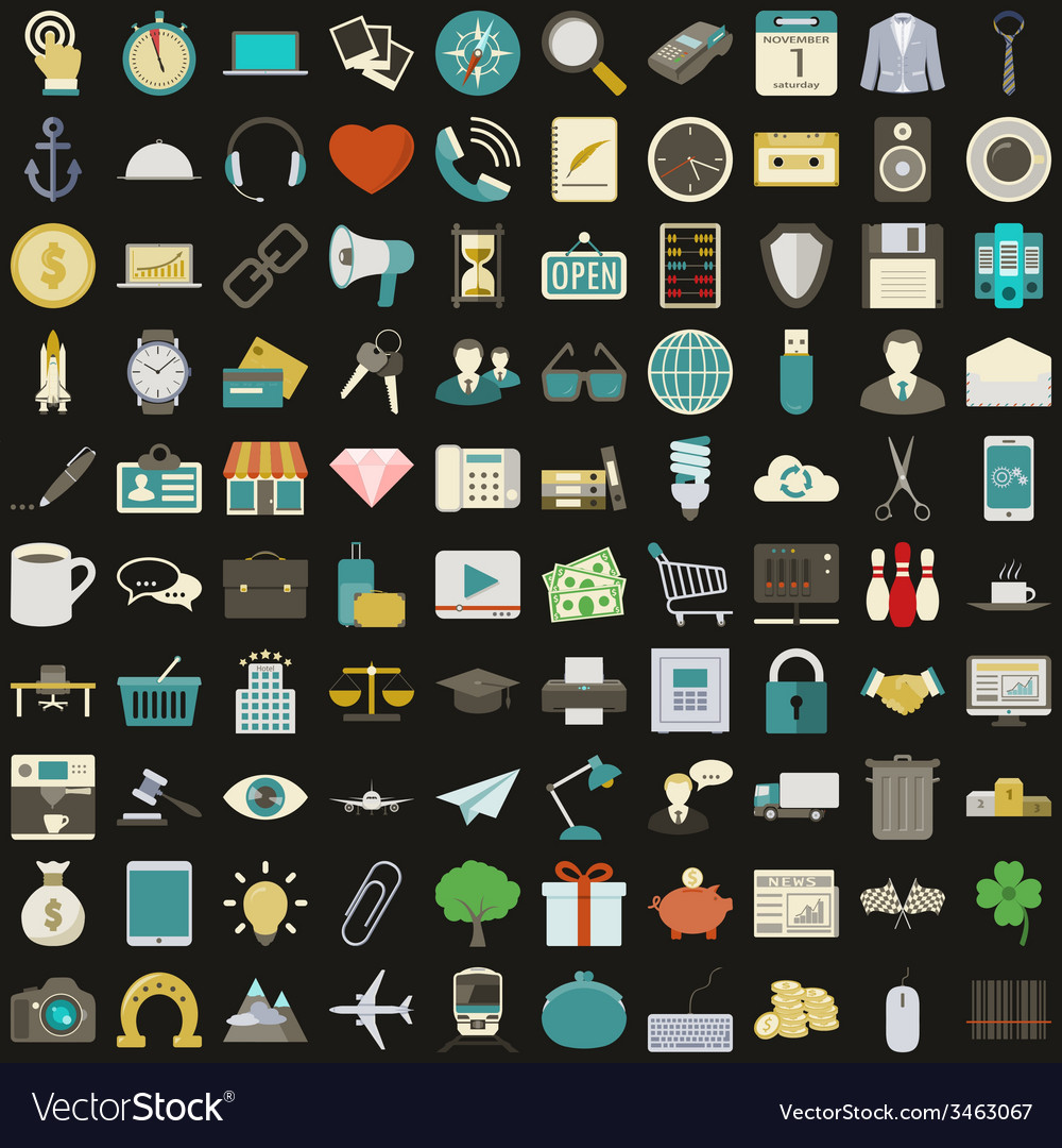 Universal 100 flat icons set vector | Price: 1 Credit (USD $1)